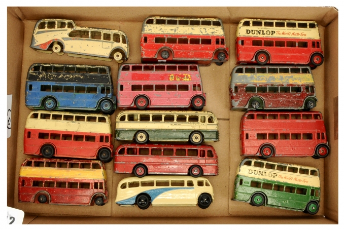 Dinky Toys a group of unboxed Buses