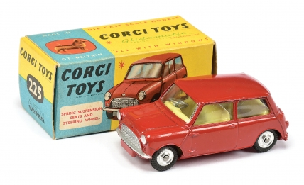 Corgi No.225 Austin Mini Seven - red body, lemon interior