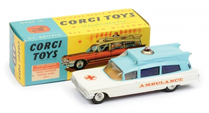 "Corgi No.437 Superior ""Ambulance"" - two-tone white, blue"