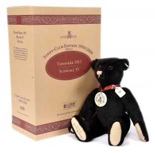Steiff Club Edition teddy bear replica 1912, black mohair