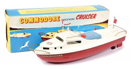 "Sutcliffe Models tinplate clockwork ""Commodore"" Cruiser"
