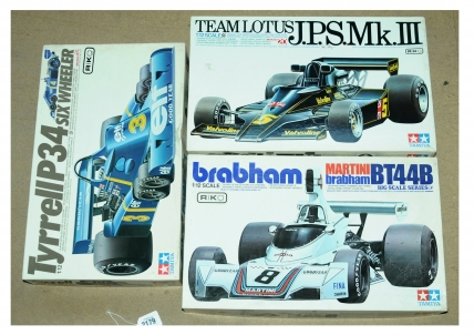 Tamiya a mixed boxed Formula 1 Kit related group in 1/12th scale.