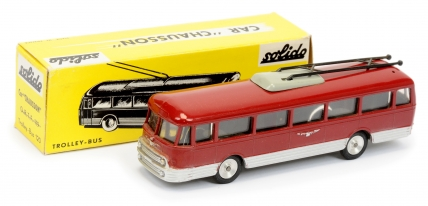 Solido Trolley Bus - finished in dark red, silver flashes
