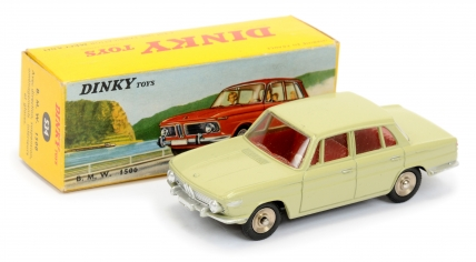 French Dinky 534 BMW 1500 - drab light green, red interior