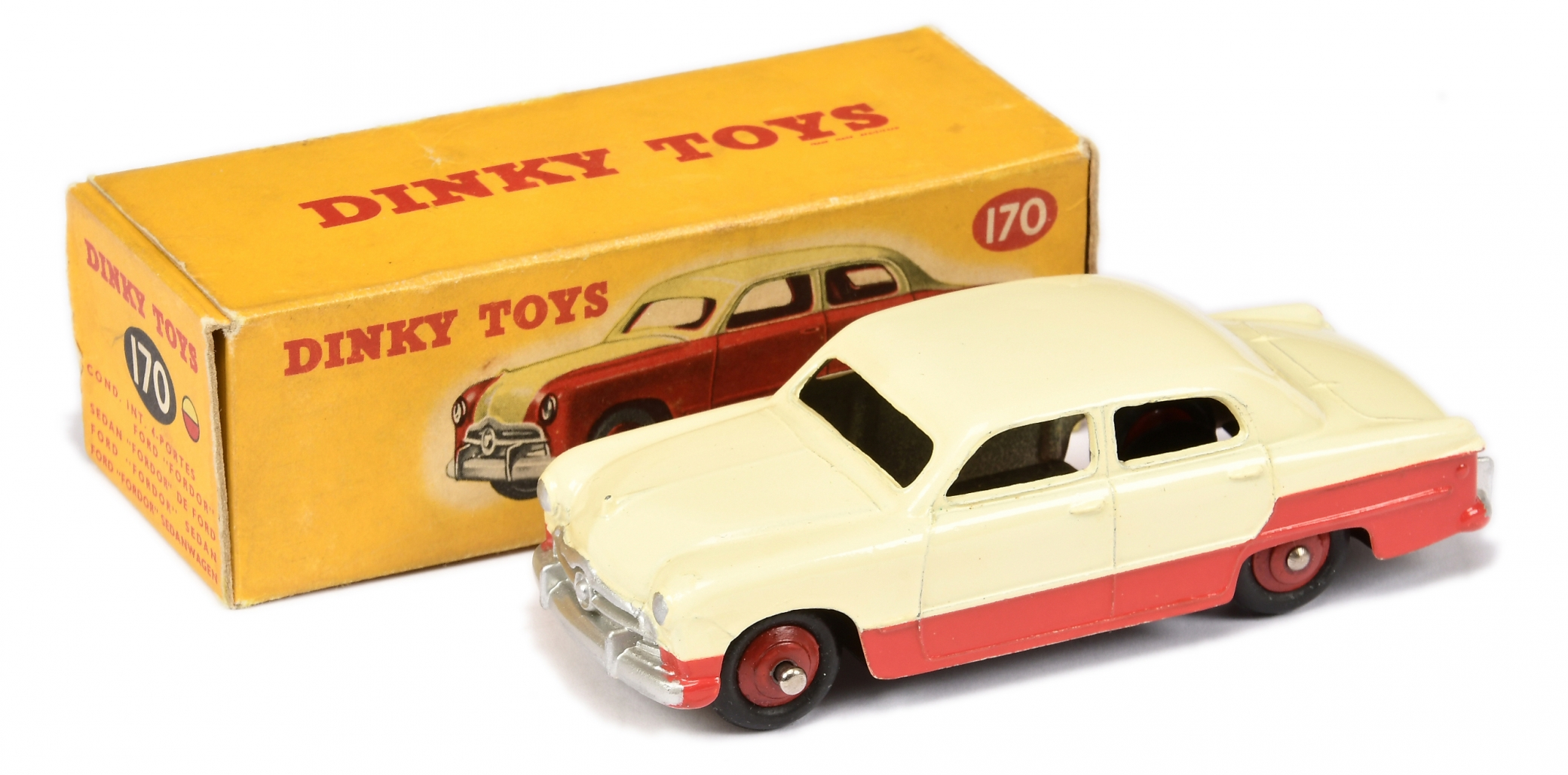 Dinky 170 Ford Fordor Sedan Low-Line - two-tone cream, red